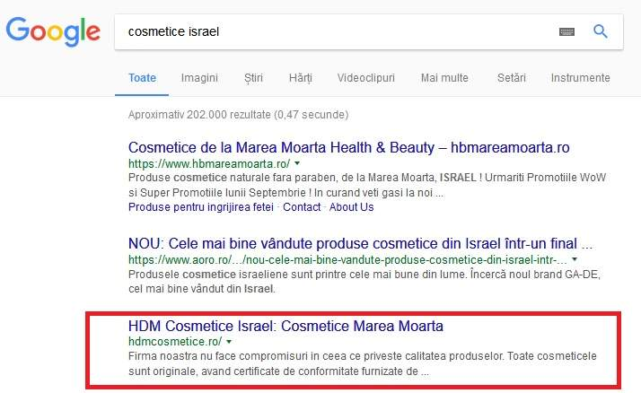 optimizare seo hdmcosmetice.ro
