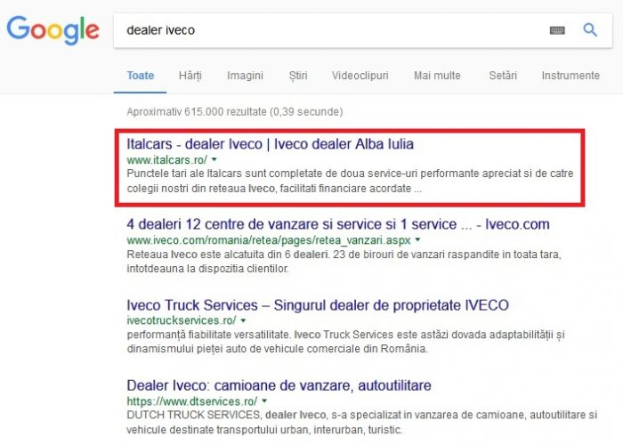 optimizare seo Italcars-Iveco