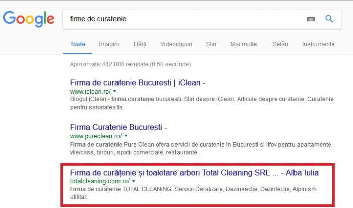 optimizare seo total cleaning